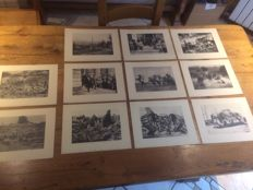 Lot of 11 plates signed in ink by Thournassoud