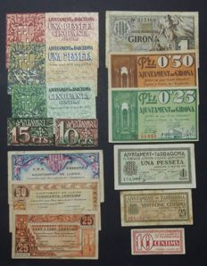 Spain - Pesetas - Full series of banknotes from 1937 from the four provinces of Catalonia: Barcelona, Girona, Lleida and Tarragona