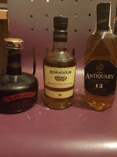 3 bottles - Glen Leora 5 years old Pure Malt - Edradour 10 years old - The Antiquary 12 years old