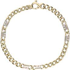 14 kt yellow-gold curb-link bracelet, set with 12 brilliant-cut diamonds of approx. 0.12 ct in total - length: 18 cm