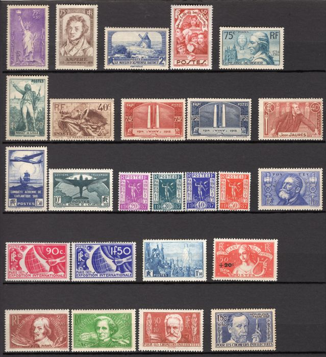 France 1936 - Complete year - Yvert 309/333 including signed ROUMET