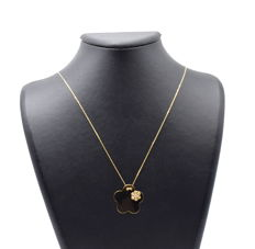 14 carat yellow gold chain with Flower Pendant - 45 cm