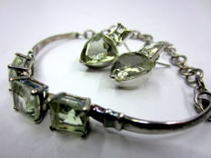 Green amethyst set with silver, circa 1973