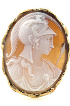 Antique 585 14 kt gold brooch and pendant m. cameo