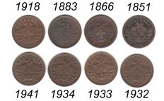 Switzerland - 8 x 2 rappen from 1851 to 1941