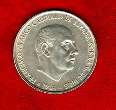 Spain - 100 Silver pesetas Francisco Franco (Spanish dictator from 1939-1975) - 1966 - Star 69, curved stick  Scarce.