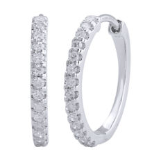 18Kt. White gold hoops earrings set with diamonds 0.25ct.(0.009ct. x28 nos.) GH colour and SI clarity with secure seamless lock.