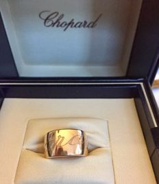 Chopard, ring, Chopardisimo red gold, wide design - size 18.5 (58.5) width: 14 mm