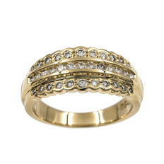 Yellow gold, 18 kt - Cocktail ring - Brilliant-cut diamonds, 1.00 ct - Cocktail ring size: 15 (Spain)