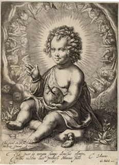 Jan Saenredam, after Hendrick Goltzius, Christ as Salvator Mundi, 1597, edited by Gerard Valck (1662 - 1726)