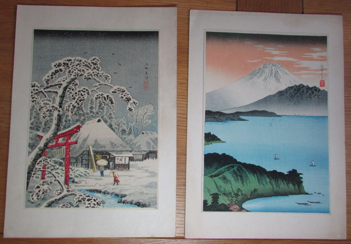 Two original woodblock prints by Takahashi Shotei (1871-1945) - 'Mt Fuji from Kurasawa' and 'Red Torii in snow' - Japan - ca. 1930s