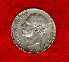 Spain - Alfonso XII (1874 - 1885), Silver 5 peseta coin - 1885 (87) - Madrid MS M