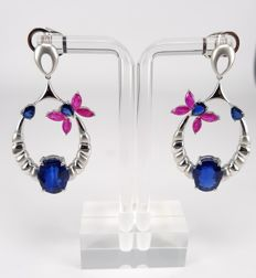 Butterfly Dangling Earrings in 14.8 carats Kyanite, 1.17 carats Sapphire and 2.64 carats Ruby in 18 kt White Gold- FREE SHIPPING