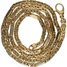 14 kt Yellow gold king´s braid link necklace set with white gold intermediate links - length x width: 60.5 x 0.3 cm