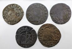 Italian Mints, Venice – 4x 12 bagattini + 1x 6 bagattini coins, 1623/1732 – Lot of 5 coins