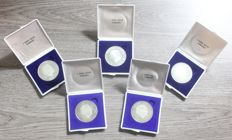 The Netherlands - 10 guilders 1973 Juliana (Proof in box) - 5 pieces - silver