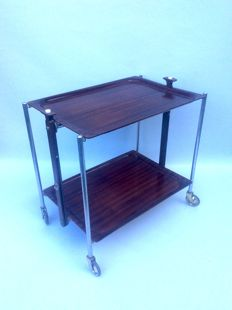 Textable -Trolley Folding Side Table Cast Plywood Vintage