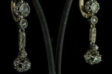 Earrings - Early 20th century - 18 kt gold - Diamonds - NO RESERVE PRICE