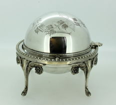 Vintage Silver Plate Hand Engraved Ash Tray, Circa.1950's