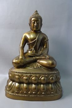 Large bronze Buddha - Nepal - 2nd half 20th century