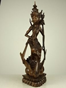 Makassar Ebony Carving of Saraswati - Indonesia - ca. 1950