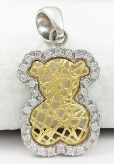 Pendant - Bear - 18 kt white and yellow gold