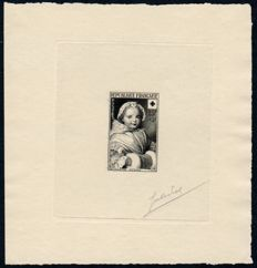 France 1951 - Yvert 915 Adopted proof in black on average paper, drawn by designer (theme Red Cross)