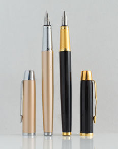 Parker: 2 x luxury Sonnet fountain pens: gloss black and soft-champagne with gold plated and chrome accents, with Parker gift box (P101 (2))