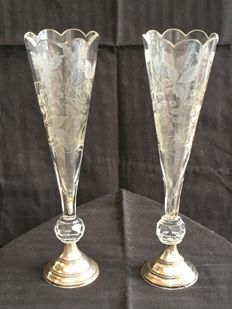 Fine pair of Dutch flute glasses or vases with silver feet - Marked 1846