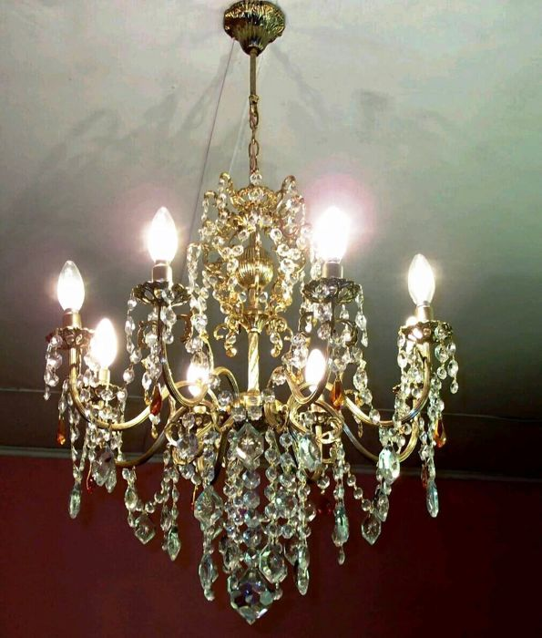 6 Arms Antique French Art Nouveau Style Vintage Brass Crystal Chandelier  Architectural Home Office Design - 6 Arms Antique French Art Nouveau Style Vintage Brass Crystal
