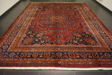 Old hand-knotted Art Nouveau Persian palace carpet, Mashad patina, 315 x 385 cm, made in Iran, 'signed by the master weaver', very good condition