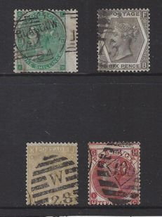 Great Britain 1862/1880, Queen Victoria - Stanley Gibbons 90, 111, 112 and 125