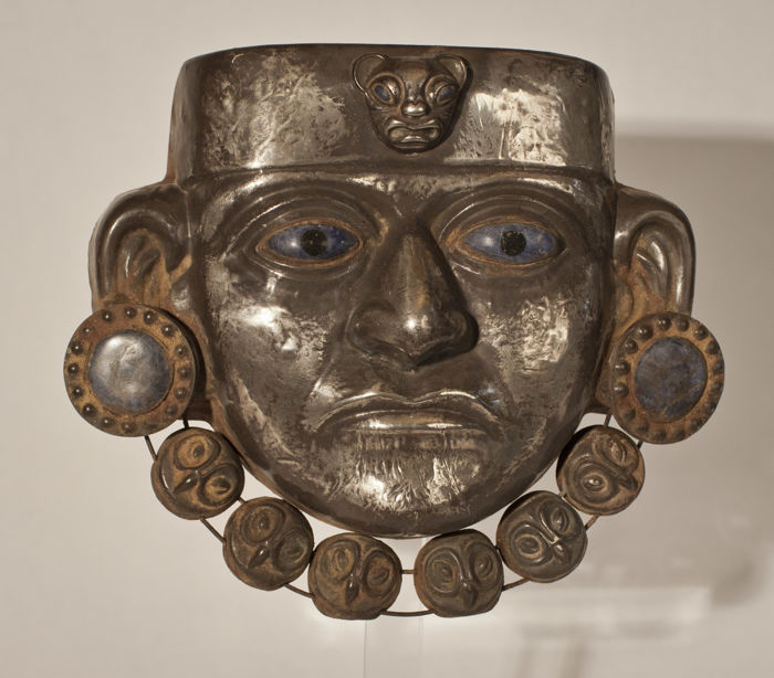 Moche  sheet silver burial mask 18.9 cm
