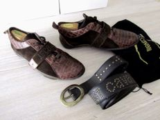 Set - Cavalli Croco leather sneaker & Cavalli Belt - -