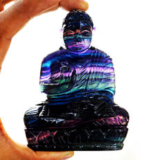 Top Rare Colors Fluorite Buddha - 101x53x26 mm - 2056 cts