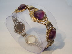 Handmade bracelet with big amethyst cabochons, total of 30 ct.