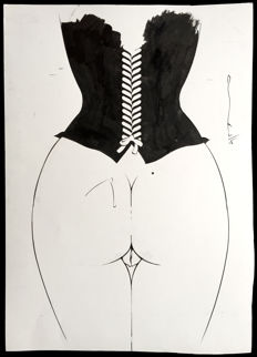 Michetz - Original drawing - Woman seen from behind - (2005)