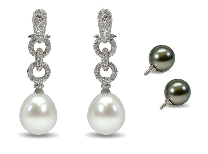 Two Way Wearable Earrings Featuring  2.12Ct VS Diamonds and 2 Pairs of Lustrous South Sea and Tahitian Pearls
