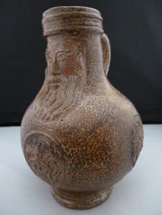 Stoneware pottery bartmann /bellarmine jug with weapon stamps - 20 cm