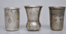 Three different silver vodka cups, Rusland and Austria-Hungary, 19th century