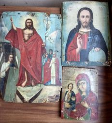 Three russian icons (late 19th) - The Ascension of Jesus, The Christ Pantocrator and The Mother of God