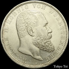 Germany Wurttemberg - 5 mark 1908 Wilhelm II - silver