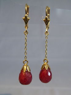 Gold 14 kt ruby - pendeloque facetted ruby - droplets 10.4 ct NO RESERVE