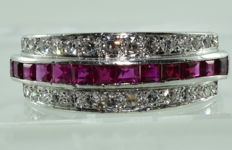 Exceptional cocktail ring in 18K platinum, set with 12 untreated natural rubies of 1.20 ct and 30 diamonds of 1.20 ct *** NO RESERVE PRICE ***