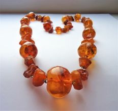Old Natural Baltic Amber necklace, cognac colour, 73 gram