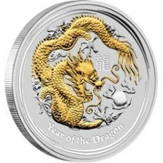 Australia - Dollar 2012 'Year of the Dragon' partially gold-plated - 1 oz silver