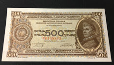 Yugoslavia - 500 Dinars 1946 - Pick 66b - with security thread