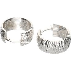18 kt - white gold full creole earrings - length x width: 4.61 g