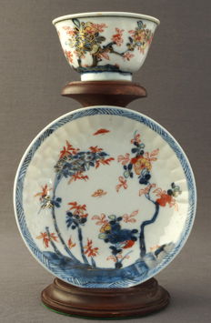 Rare cup and saucer with landscape décor - China - around 1720, Kangxi period (1662–1722)