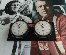 Nice 2x dash mounted HEUER stopwatches set -1960´s 1970´s.